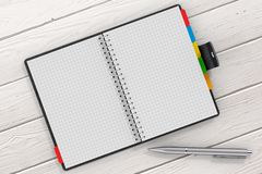 Pen near Black Leather Covered Personal Diary or Organiser Book. With Blank Pages for Yours Design over Wooden Table extreme closeup. 3d Rendering Royalty Free Stock Photos