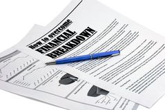 Pen upon newspaper article about crisis Royalty Free Stock Photos
