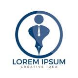 Pen nib or pen tip with a man head on the top for gentle pen logo . Stock Photos