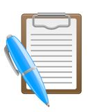 Pen and note icons. In glossy style for web design Stock Image