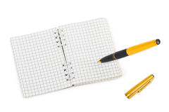 Pen and note pad Stock Photos