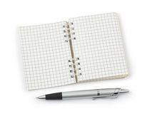 Pen and note pad. On white background Stock Photo