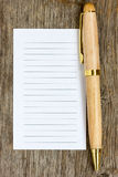 Pen and note paper for your text Stock Photo