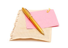 Pen and note papers Stock Photography