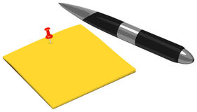 Pen with Note and Pushpin Royalty Free Stock Image