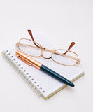 The pen and notebook Stock Images