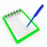 Pen on a notebook. On a white background stock illustration