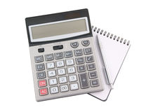 Pen on notebook and calculator isolated Royalty Free Stock Images