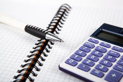 Pen on a notebook into a cell and calculator Royalty Free Stock Images