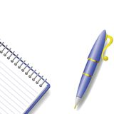 Pen and notebook Stock Photography