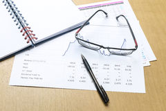 Pen, notebook, glasses and financial report Royalty Free Stock Photos