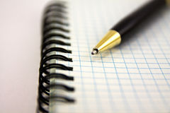Pen and notebook. Pen lying on a notebook, Stationery Accessories Royalty Free Stock Photography