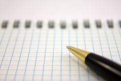 Pen and notebook. Pen lying on a notebook, Stationery Accessories Royalty Free Stock Images