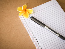 Pen on notebook wooden stock image