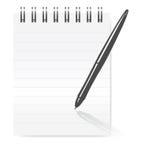 Pen on notepad. Isolated on white background Royalty Free Stock Photo