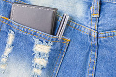 Pen and notepad in back pocket jean with copyspace concept idea Stock Images