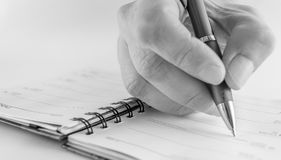 Pen. And notepad black and white royalty free stock image