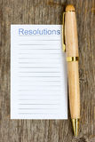 Pen and notepad list for resolutions Stock Images