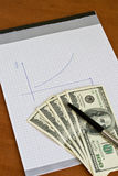 Pen and notepad with money Royalty Free Stock Images