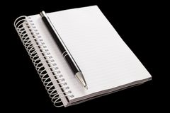 Equipment for reminders, study or work. The pen and notepad represent equipment for reminders, study or work Royalty Free Stock Image