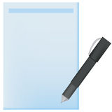 Pen for notes. On blue paper, banner Royalty Free Stock Photos