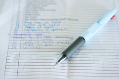 Pen and notes Stock Image