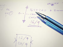 Pen with notes written on paper Royalty Free Stock Photos