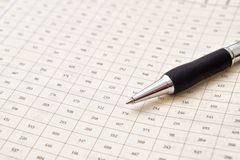 Pen and numbers Stock Image