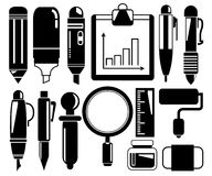 Pen and office supply icons Royalty Free Stock Photos
