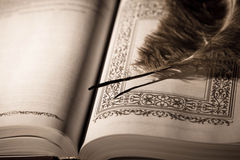 Pen on old book. Royalty Free Stock Images