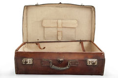 Open old leather suitcase Stock Photos