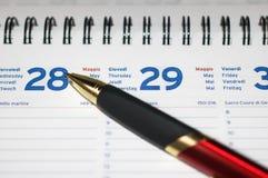 Pen On Agenda Royalty Free Stock Photo