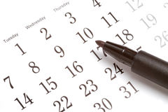 Pen On Calendar Stock Photography