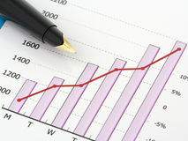 Pen On Chart Stock Image