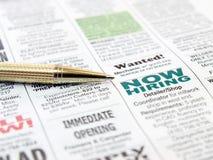 Pen op de krant Royalty-vrije Stock Foto's