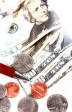 Pen op de munt van de V.S. Stock Foto