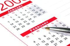 Pen op Kalender Stock Foto