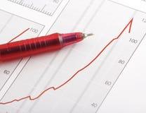 Pen op positieve het verdienen grafiek Stock Afbeelding