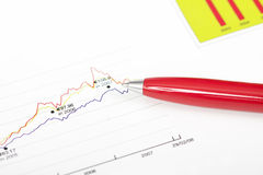 Pen over bedrijfsgrafiek Stock Fotografie