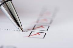 Pen Over Filled Checkboxes Stock Fotografie