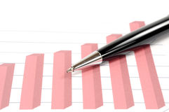 Pen over graph Stock Photography