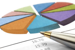 Pen over Pie Chart. Pen over a financial pie chart.  Household budget or investment returns Royalty Free Stock Photos