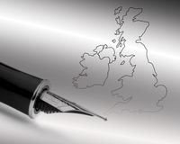 Pen over UK map Royalty Free Stock Images