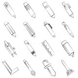 Pen and painting tools icons. Set of 16 sketch pen, pencil and painting tool icons Stock Photos