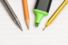 Pen & Paper. Pens And Paper On Closeup Stock Photos