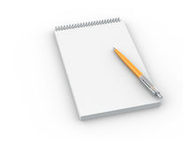 Pen and Paper. Note  paper with Orange Pen Stock Photography