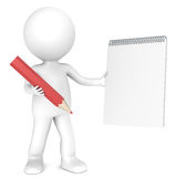 Pen and Paper. 3D little human character holding a Blank Notepad and a Red Pencil. Copy Space. People series Royalty Free Stock Photography
