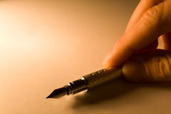 Pen with paper Royalty Free Stock Photos