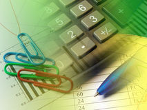 Pen, paper-clips and calculator Stock Image