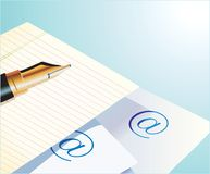 Pen, paper and email Royalty Free Stock Image
